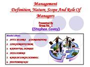 NATURE+AND+SCOPE+OF++MANAGEMENT