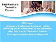 BEST PRACTICE IN DISCUSSION FORUMS
