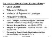 mergers & acquisitions for mba - pune university