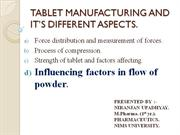 TABLET MANUFACTURING AND IT�S DIFFERENT ASPECTS