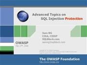 Advanced Topics on SQL Injection Protection