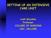 SETTING UP AN INTENSIVE CARE UNIT