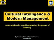 CULTURAL INTELLIGENCE and MODERN MANAGEMENT Ten3 M