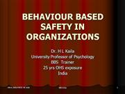 BEHAVIOUR BASED SAFETY IN ORGANIZATIONS - Dr Kaila